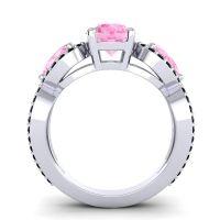 Pink Tourmaline Three Stone Pave Varsa Ring with Black Onyx in Platinum