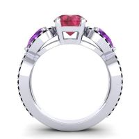 Three Stone Pave Varsa Ruby Ring with Amethyst and Black Onyx in Platinum
