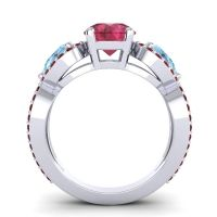 Three Stone Pave Varsa Ruby Ring with Aquamarine and Garnet in 18k White Gold