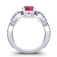 Ruby Three Stone Pave Varsa Ring with Diamond and Black Onyx in Platinum