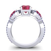 Three Stone Pave Varsa Ruby Ring with Blue Sapphire in 18k White Gold