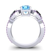 Three Stone Pave Varsa Swiss Blue Topaz Ring with Black Onyx and Amethyst in 18k White Gold