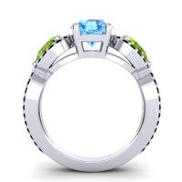 Three Stone Pave Varsa Swiss Blue Topaz Ring with Peridot and Black Onyx in 18k White Gold