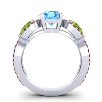 Three Stone Pave Varsa Swiss Blue Topaz Ring with Peridot and Ruby in Platinum