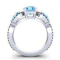 Three Stone Pave Varsa Swiss Blue Topaz Ring with Black Onyx in Platinum