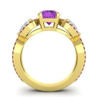 Three Stone Pave Varsa Amethyst Ring with Diamond and Ruby in 18k Yellow Gold