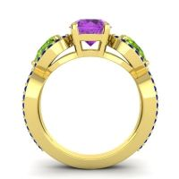 Three Stone Pave Varsa Amethyst Ring with Peridot and Blue Sapphire in 18k Yellow Gold