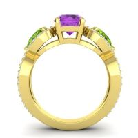 Three Stone Pave Varsa Amethyst Ring with Peridot and Diamond in 14k Yellow Gold