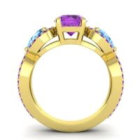 Three Stone Pave Varsa Amethyst Ring with Swiss Blue Topaz in 18k Yellow Gold
