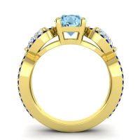 Three Stone Pave Varsa Aquamarine Ring with Diamond and Blue Sapphire in 14k Yellow Gold