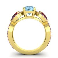 Three Stone Pave Varsa Aquamarine Ring with Garnet and Amethyst in 14k Yellow Gold