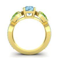 Three Stone Pave Varsa Aquamarine Ring with Peridot in 18k Yellow Gold