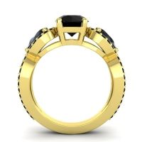 Three Stone Pave Varsa Black Onyx Ring in 14k Yellow Gold
