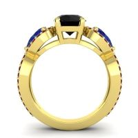 Three Stone Pave Varsa Black Onyx Ring with Blue Sapphire and Garnet in 18k Yellow Gold
