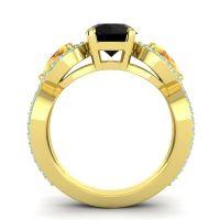 Three Stone Pave Varsa Black Onyx Ring with Citrine and Aquamarine in 14k Yellow Gold