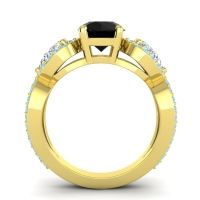 Three Stone Pave Varsa Black Onyx Ring with Diamond and Aquamarine in 18k Yellow Gold