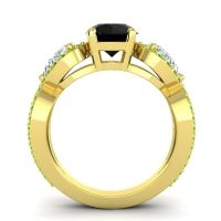 Three Stone Pave Varsa Black Onyx Ring with Diamond and Peridot in 14k Yellow Gold