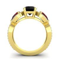 Three Stone Pave Varsa Black Onyx Ring with Garnet and Diamond in 18k Yellow Gold