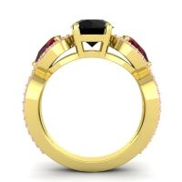 Three Stone Pave Varsa Black Onyx Ring with Garnet and Pink Tourmaline in 18k Yellow Gold