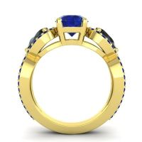 Three Stone Pave Varsa Blue Sapphire Ring with Black Onyx in 14k Yellow Gold