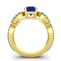 Three Stone Pave Varsa Blue Sapphire Ring with Diamond and Black Onyx in 18k Yellow Gold