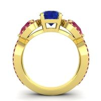 Three Stone Pave Varsa Blue Sapphire Ring with Ruby in 14k Yellow Gold
