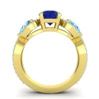 Three Stone Pave Varsa Blue Sapphire Ring with Swiss Blue Topaz and Aquamarine in 14k Yellow Gold