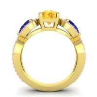 Three Stone Pave Varsa Citrine Ring with Blue Sapphire and Pink Tourmaline in 14k Yellow Gold