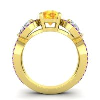 Three Stone Pave Varsa Citrine Ring with Diamond and Amethyst in 18k Yellow Gold