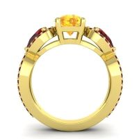 Three Stone Pave Varsa Citrine Ring with Garnet in 14k Yellow Gold
