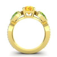 Three Stone Pave Varsa Citrine Ring with Peridot and Diamond in 18k Yellow Gold