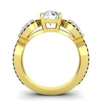 Three Stone Pave Varsa Diamond Ring with Black Onyx in 18k Yellow Gold