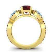Three Stone Pave Varsa Garnet Ring with Aquamarine in 14k Yellow Gold