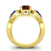 Three Stone Pave Varsa Garnet Ring with Blue Sapphire and Citrine in 14k Yellow Gold
