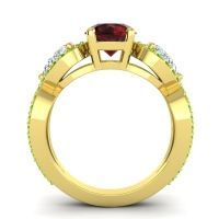 Three Stone Pave Varsa Garnet Ring with Diamond and Peridot in 18k Yellow Gold