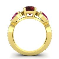 Three Stone Pave Varsa Garnet Ring with Ruby and Diamond in 14k Yellow Gold