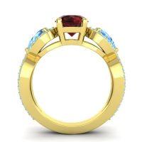 Three Stone Pave Varsa Garnet Ring with Swiss Blue Topaz and Aquamarine in 18k Yellow Gold