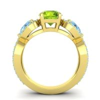 Three Stone Pave Varsa Peridot Ring with Aquamarine in 18k Yellow Gold