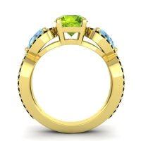 Three Stone Pave Varsa Peridot Ring with Aquamarine and Black Onyx in 14k Yellow Gold