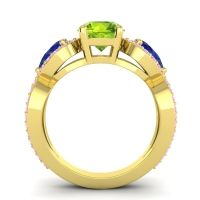 Three Stone Pave Varsa Peridot Ring with Blue Sapphire and Pink Tourmaline in 14k Yellow Gold
