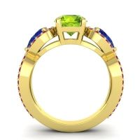 Three Stone Pave Varsa Peridot Ring with Blue Sapphire and Ruby in 18k Yellow Gold