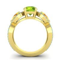 Three Stone Pave Varsa Peridot Ring with Citrine and Swiss Blue Topaz in 18k Yellow Gold