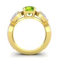 Three Stone Pave Varsa Peridot Ring with Diamond and Pink Tourmaline in 14k Yellow Gold