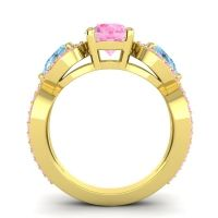 Three Stone Pave Varsa Pink Tourmaline Ring with Aquamarine in 14k Yellow Gold