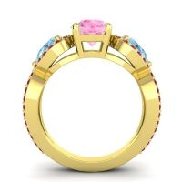Three Stone Pave Varsa Pink Tourmaline Ring with Aquamarine and Ruby in 18k Yellow Gold