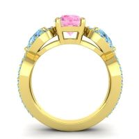 Three Stone Pave Varsa Pink Tourmaline Ring with Aquamarine and Swiss Blue Topaz in 18k Yellow Gold