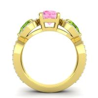 Three Stone Pave Varsa Pink Tourmaline Ring with Peridot and Diamond in 14k Yellow Gold
