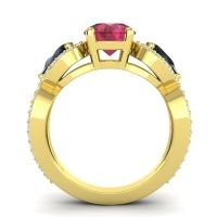 Three Stone Pave Varsa Ruby Ring with Black Onyx and Diamond in 18k Yellow Gold