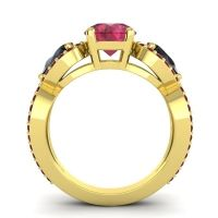 Three Stone Pave Varsa Ruby Ring with Black Onyx and Garnet in 18k Yellow Gold
