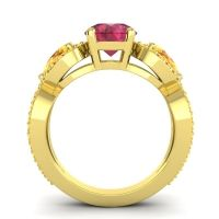 Three Stone Pave Varsa Ruby Ring with Citrine in 18k Yellow Gold
